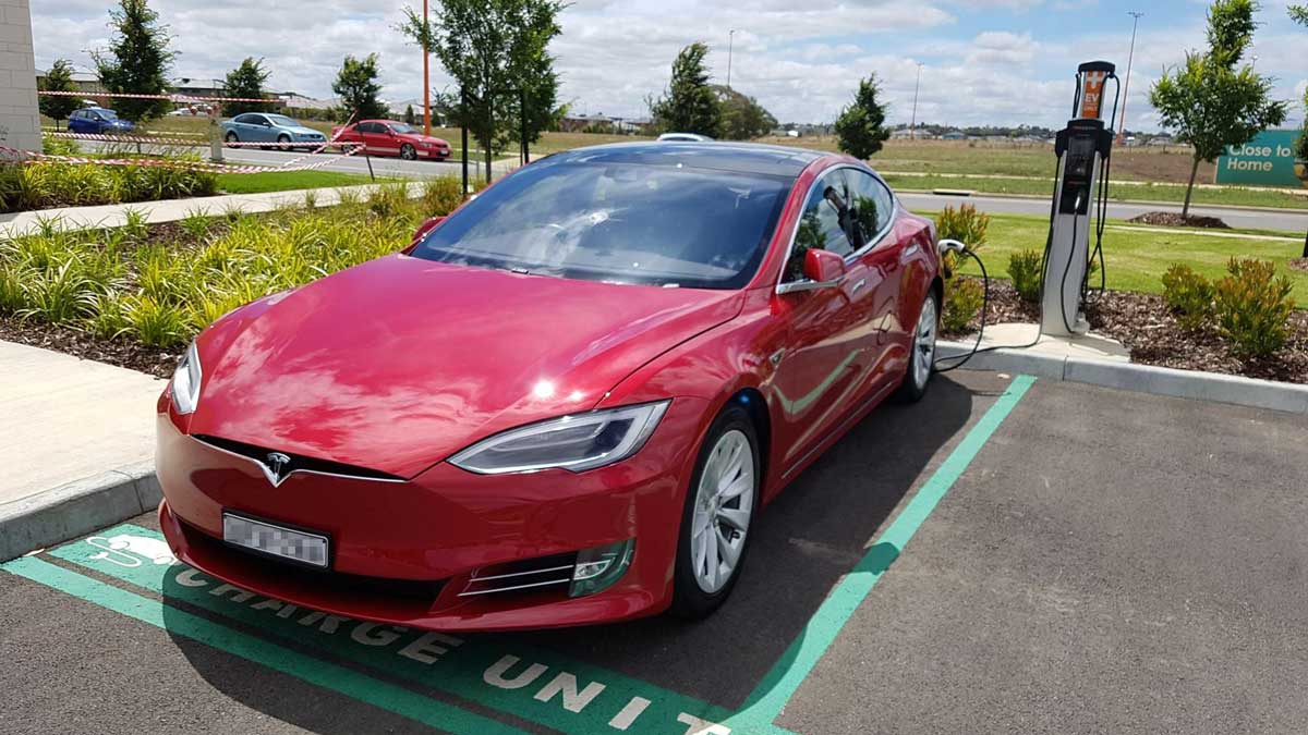 tesla model S at chargepoint charger